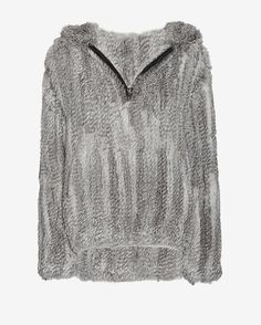 Yves Salomon EXCLUSIVE Knitted Rabbit Fur Zip Up: Grey