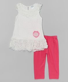 Look what I found on #zulily! Fuchsia Floral Lace Top & Leggings - Toddler & Girls #zulilyfinds