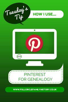 Full Circle Family History Blog: Tuesday's Tip - How I use...  Pinterest for Genealogy fullcirclefamilyhistory.blogspot.com