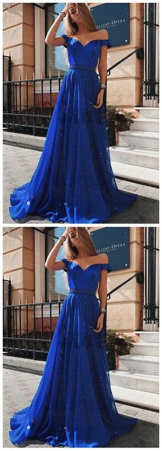 Off The Shoulder Royal Blue Beaded Long Prom Evening Dress on Luulla Royal Blue Prom Dresses, Prom Party Dresses, Formal Dresses, One Shoulder Gown, Off The Shoulder, Simple Clothing, Prom Date, Red Party, Tulle Gown