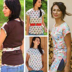Střih a návod jak ušít dámské tričko nebo tuniku s přinechanými rukávy Sewing, How To Make, Tutorials, Fashion, Tunic, Moda, Dressmaking, Couture, Fashion Styles