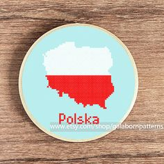 Poland map  Poland flag  Counted cross stitch by galabornpatterns