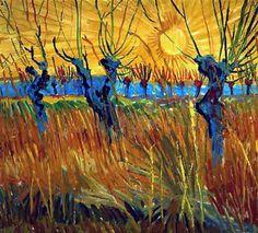 Vincent Van Gogh, Saules têtards au coucher de soleil, Arles, automne 1888