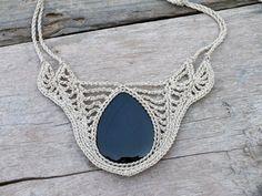 Fashion jewelry, Black and White necklace, Bib statement jewelry, Big Onyx necklace, Womens Crochet jewelry, Rustic statement necklace
