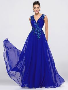 Elegant Sexy V-Neck A-Line Applique Floor Length Evening/Prom Dress Evening Dresses 2014- ericdress.com 10987810