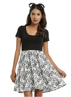"""Feel like a Disney princess in this dress! The design features a solid black top and princess sketch print on the skirt. Princesses include Snow White, Ariel, Tiana Cinderella and Rapunzel. Plus, there's pockets!<br><br><ul><li style=""""LIST-STYLE-POSITION: outside !important; LIST-STYLE-TYPE: disc !important"""">34"""" long</li><li style=""""LIST-STYLE-POSITION: outside !important; LIST-STYLE-TYPE: disc !important"""">97% cotton; 3% spandex</li><li style=""""LIST-STYLE-POSITION: outside !important…"""