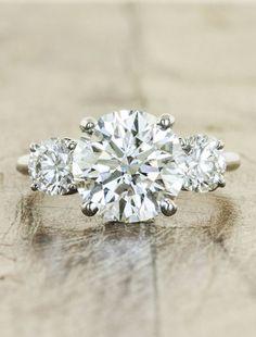 round diamond 3 stone styled wedding engagement rings