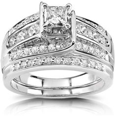 Princess Diamond Bridal Set 1 CTW in Platinum ($2,820) ❤ liked on Polyvore featuring jewelry, rings, joias, band rings, princess cut ring, diamond enhancer ring, platinum rings and wedding band ring