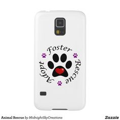 Animal Rescue Case For Samsung Galaxy S5  This phone case features a paw print with a red heart inside. Promotes animal rescue with the words adopt, foster and rescue separated with purple paw prints. Perfect gift for yourself or any animal lover. Animal shelters could use this item in a silent auction or raffle as a fund raiser. Dog, cat, canine, feline, pet, puppy, kitten, animal lover.