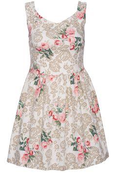 ROMWE Flower Print Lace-up Apricot Dress 19.90