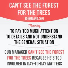"""Can't see the forest for the trees"" means ""to pay too much attention to details and not understand the general situation"".         Repinned by Chesapeake College Adult Ed. We offer free classes on the Eastern Shore of MD to help you earn your GED - H.S. Diploma or Learn English (ESL).  www.Chesapeake.edu"