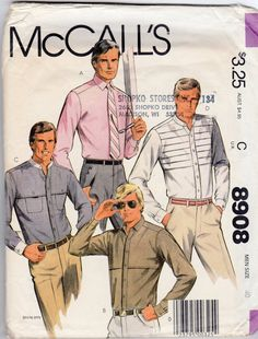 1980s Men's Pleated Shirt Pattern Size 40 by JeaniesShop on Etsy, $7.00