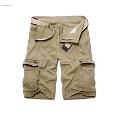Loose Summer Casual Shorts Khaki - #area51partyoutfit Camouflage Shorts, Camo Shorts, Cotton Shorts, Men Shorts, Jogger Shorts, Military Camouflage, Cargo Pants, Work Shorts, Loose Shorts