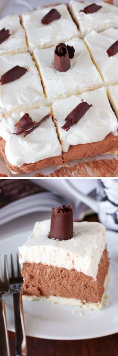 French Silk Pie Bars (and a Surprise Inside Cakes cookbook giveaway!) These pie bars are heavenly! Full of creamy chocolate mousse and topped with fluffy whipped cream.