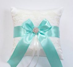 Wedding Ring Pillow, Tiffany Blue Ribbon Pillow, with Net Lace, Rhinestone Centered Satin Bow - The TIFFANY Pillow