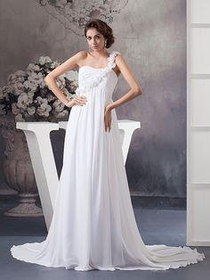 Odina - imperio solo hombro vestido de novia de gasa con flores