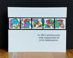 handmade inchie card from In-lifes-adventures ... random designs hand drawn and colored while inchies are banded together  ... like black batting to show off the bright colors and emphasize the separation of the inchie tiles ...