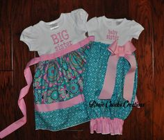 Long or Short Sleeve Big Sister Little Baby Sister Gown - Big Sister Dress Set - Aqua  Pink - Coming Home Outfit -Baby Gift