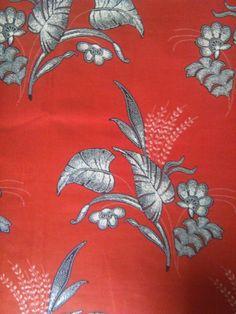Blumen und Baum Blätter Stoff / rot Stoff / von handicraftafrica