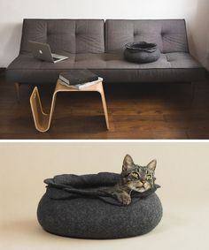 These felted cat beds would blend in perfectly with any modern interior.