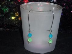 Loop Green, Blue, Clear Earrings (( Glow in the Dark))