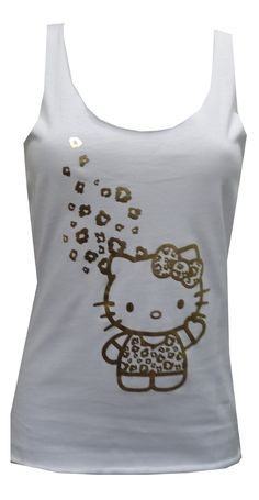Hello Kitty Racer Back Tee With Gold Foil, $16  These raw edge tanks for women feature Hello Kitty wearing a gold foil leopard print dress with some gold foil leopard accents on the top. These 100% cotton tanks have atheltic racer back styling. They are machine washable and easy to care for. Junior sizing.