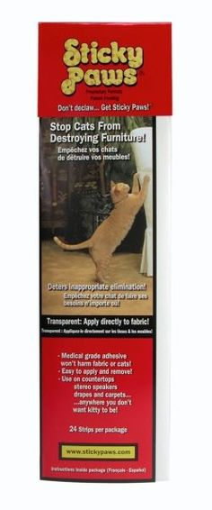 Sticky Paws adhesive strips, specially formulated to have just the right amount of tactile feel cats can't stand; allows you to conserve & protect furniture without declawing