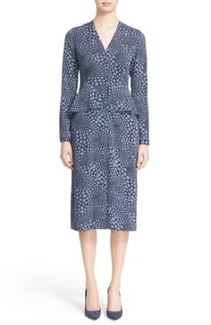 Nordstrom Signature and Caroline Issa Print Stretch Silk Peplum Dress available at #Nordstrom