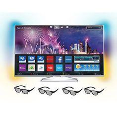 Smart TV 3D LED 55 Philips 55PFG6519/78 Full HD 3 HDMI 2 USB 480Hz Wi-Fi Integrado + 4 óculos 3D Passive