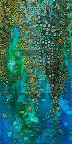 Waterfall by Amy Genser - rolled paper on painted background by odessa