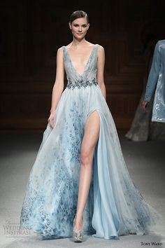 tony ward couture spring summer 2015 runway plunging v neckline blue high slit aline dress