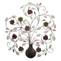 Create an artful focal point in your room with the Home Source Industries Swirled Stems with Roses Wall Sculpture . This metal wall sculpture features. Metal Wall Art Decor, Metal Tree Wall Art, Tree Wall Decor, Metal Wall Sculpture, Wall Sculptures, Metal Art, Outside Wall Decor, Metal Wall Flowers, Tin Flowers