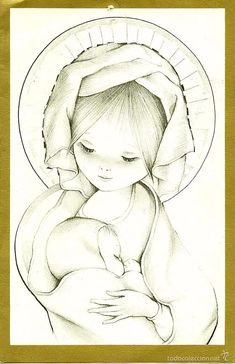0950J - MARTA RIBAS? - EDICIONES EDICROMO SERIE 717.3- DIPTICA 18X11,8 CM - Foto 1 Baby Animals Super Cute, Mama Mary, Spanish Artists, Madonna And Child, Blessed Mother, Mothers Love, Religious Art, My Drawings, Character Design