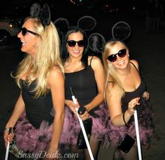 3 Blind Mice Group Halloween Costumes for women made out of DIY pink/black tutus, dollar store sunglasses, walking sticks from dollar store brooms (chopped the bristles off) and furry mouse ears from party city!