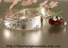 Silver Spoon Bracelet BRIDAL WREATH w/ Lampwork Heart Jewelry Vintage, Silverware, Gift, Anniversary, Wedding, Birthday. $36.00, via Etsy.