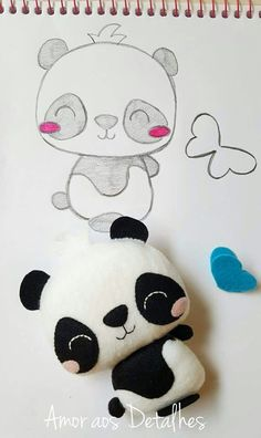 Panda Bear Crafts, Bear Felt, Craft Patterns, Felt Patterns, Softies, Plushies, Felt Crafts, Fabric Crafts, Sewing Projects
