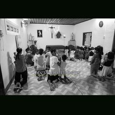 Every night the children of the orphanage shower and then pray before dinner.