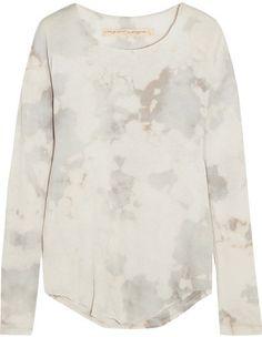 Raquel Allegra - Tie-dyed Cotton-blend Jersey Top - Ivory