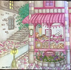 My Colorful Town by Chiaki Ida Left page: exterior of bakery Completed adult coloring page by colorist: Jax