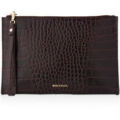 Whistles Shiny Croc-Embossed Wristlet ($130) ❤ liked on Polyvore featuring bags, handbags, clutches, burgundy, burgundy handbags, leather clutches, leather handbags, wristlet clutches and evening wristlet