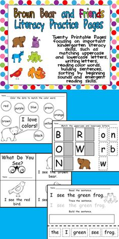 There are twenty printable pages focusing on important kindergarten literacy skills, such as matching uppercase and lowercase letters, color words, writing letters, building sentences, sorting by beginning sounds and emergent reading skills.