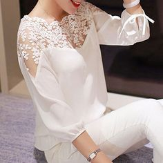 Ladies Girl Women 3\4 Sleeve Lace Hollow Casual Chiffon Blouse Crop Tops
