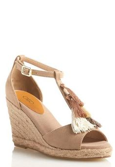 Cato Fashions Wide Width Tasseled T-Strap Wedge Sandals #CatoFashions