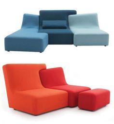 Orange & Blue Sofa Design
