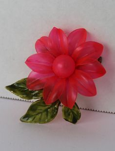 Vintage Hot Pink Flower Brooch plastic flower by purrfectstitchers, $12.00