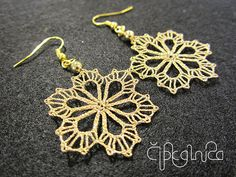 Small Golden Snowflake Lace Earrings - handmade bobbin lace jewelry