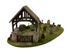 1:48th / quarter scale 'Lych Gate' kit shown here in a cemetery setting by www.petite-properties.com