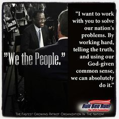 It's refreshing to see a candidate who wants to work with the people and for the people. Dr. Carson isn't focused on what Democrats or Republicans want, but what we the people want and what America needs. #healinspirerevive #bencarson2016  #wewantben  #conservative #scgop