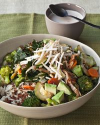Quinoa and Brown Rice Bowl with Vegetables, Avocado and Tahini Recipe on Food & Wine