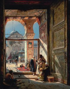 19 century painting of Rudolf Ernst showing the entrace of the Umayyad Mosque in Damascus/Syria. Umayyad Mosque, Art Arabe, Empire Ottoman, Middle Eastern Art, Arabian Art, Islamic Paintings, Illustrator, Academic Art, Paul Gauguin